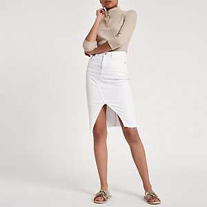 Beige rib high neck zip front top