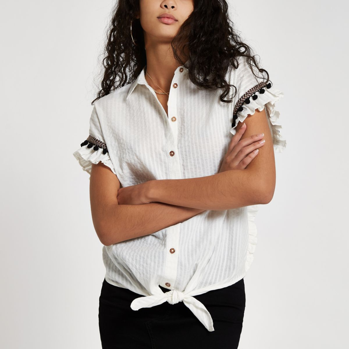 White frill trim tie front shirt