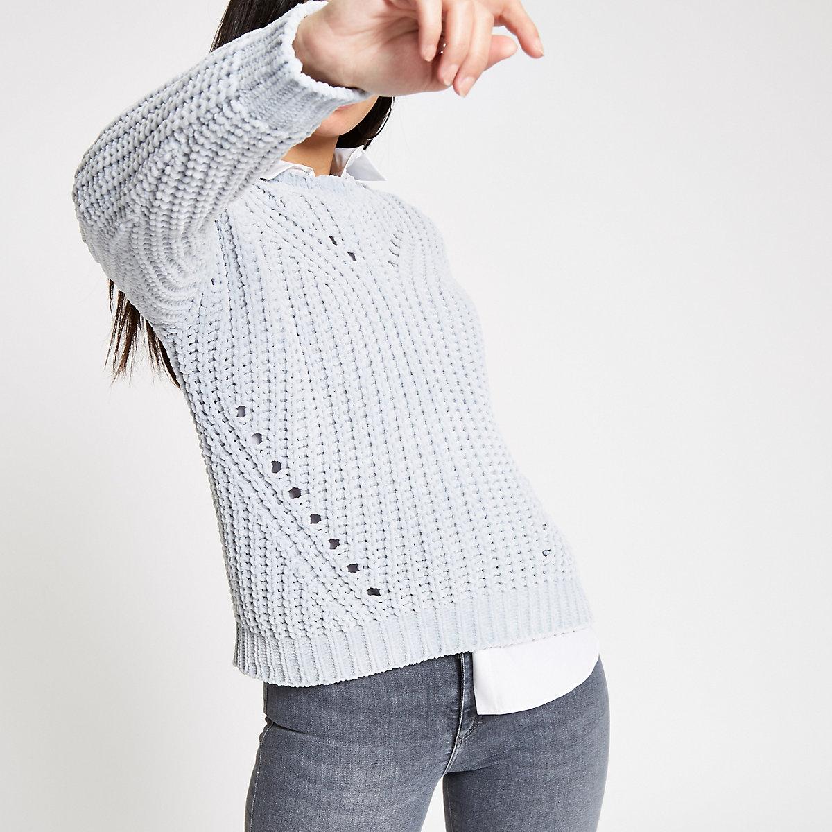Light grey knit chenille jumper