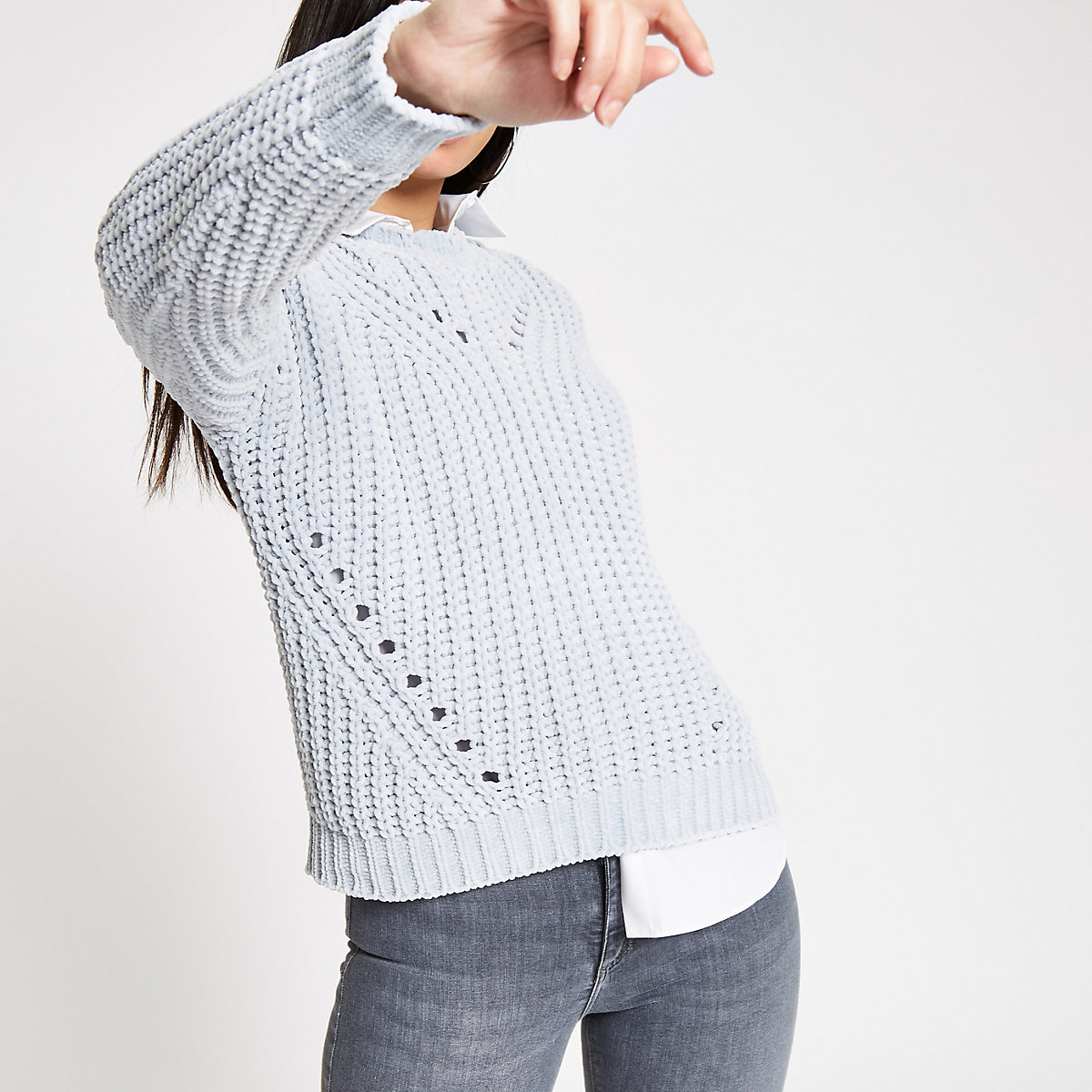 Light grey knit chenille sweater