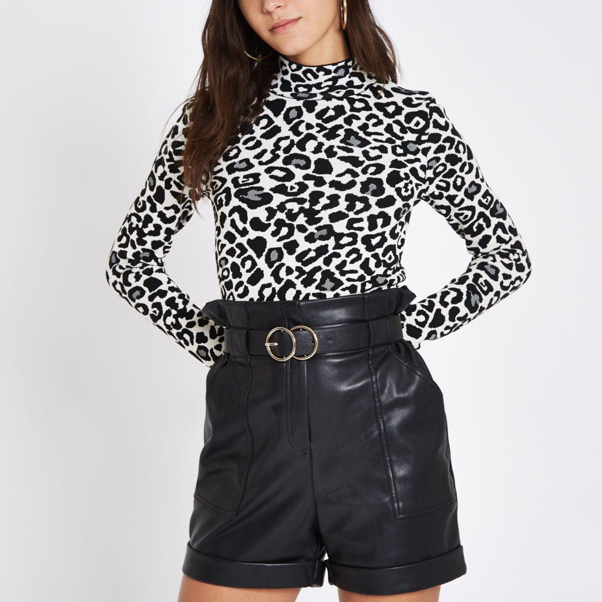 Grey leopard print turtleneck top