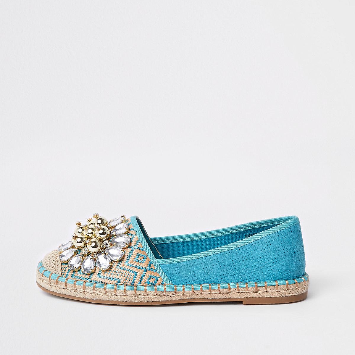 Light blue embellished espadrilles