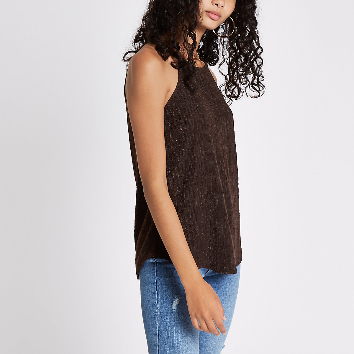 Brown textured loose top