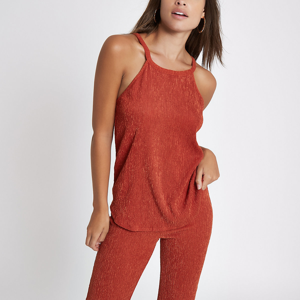 Rust textured loose fit top