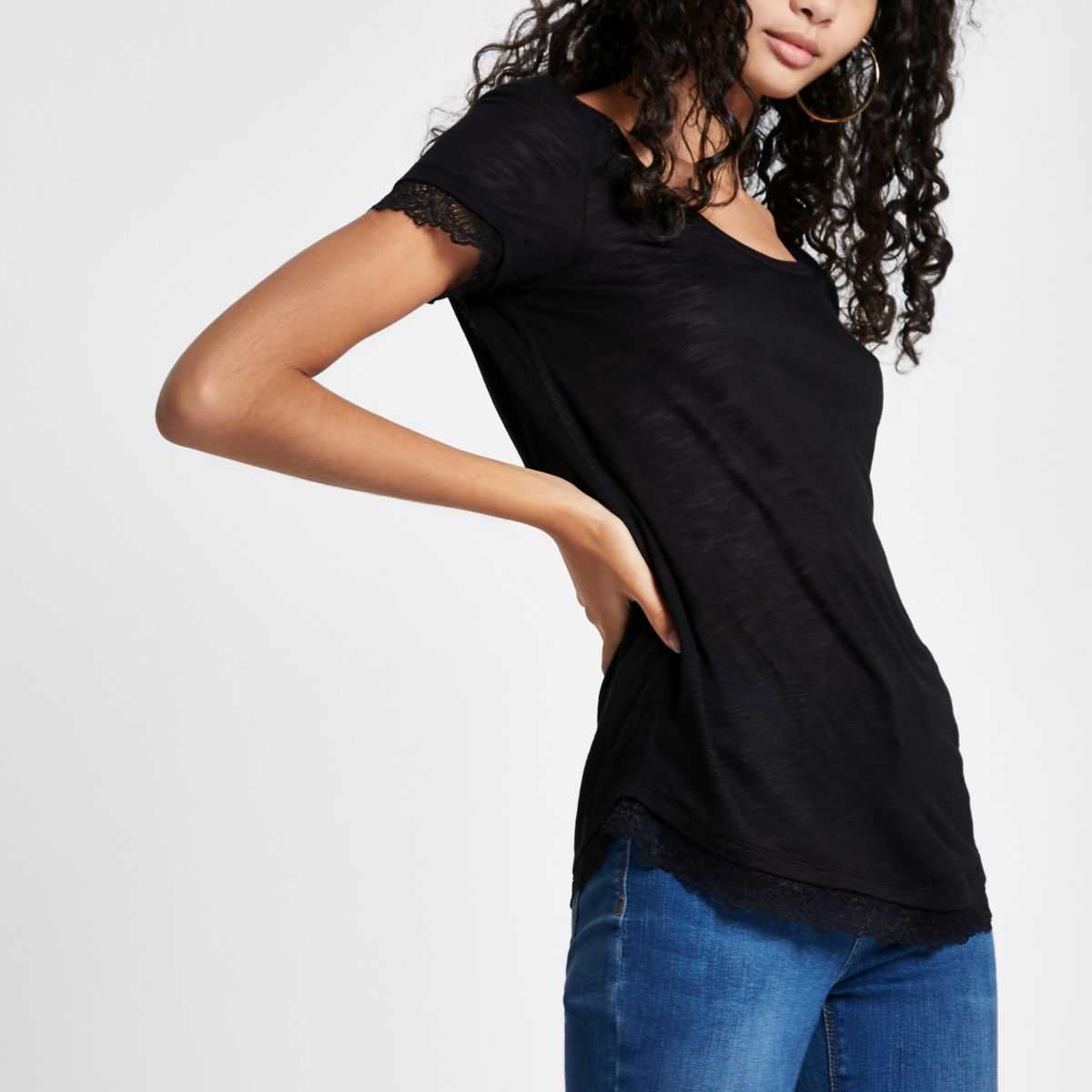 Black round neck lace trim T-shirt