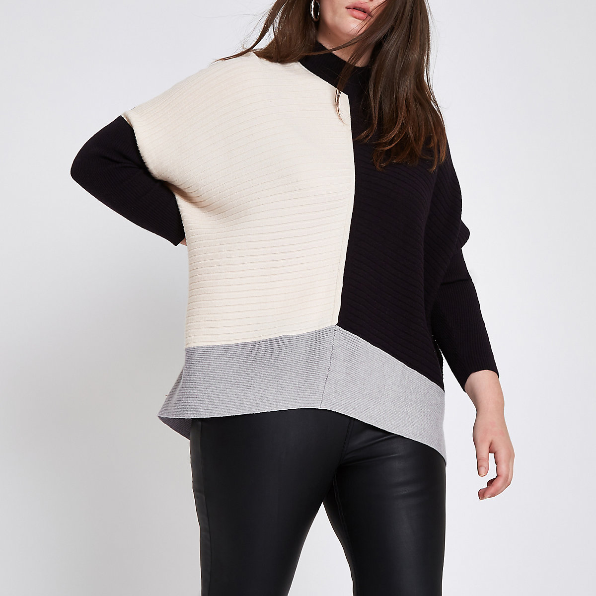 Plus black ribbed knit color block sweater