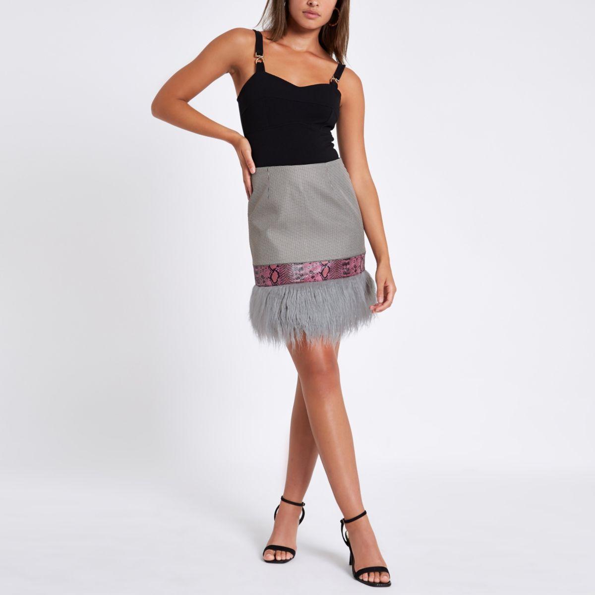 Pink faux fur mini skirt