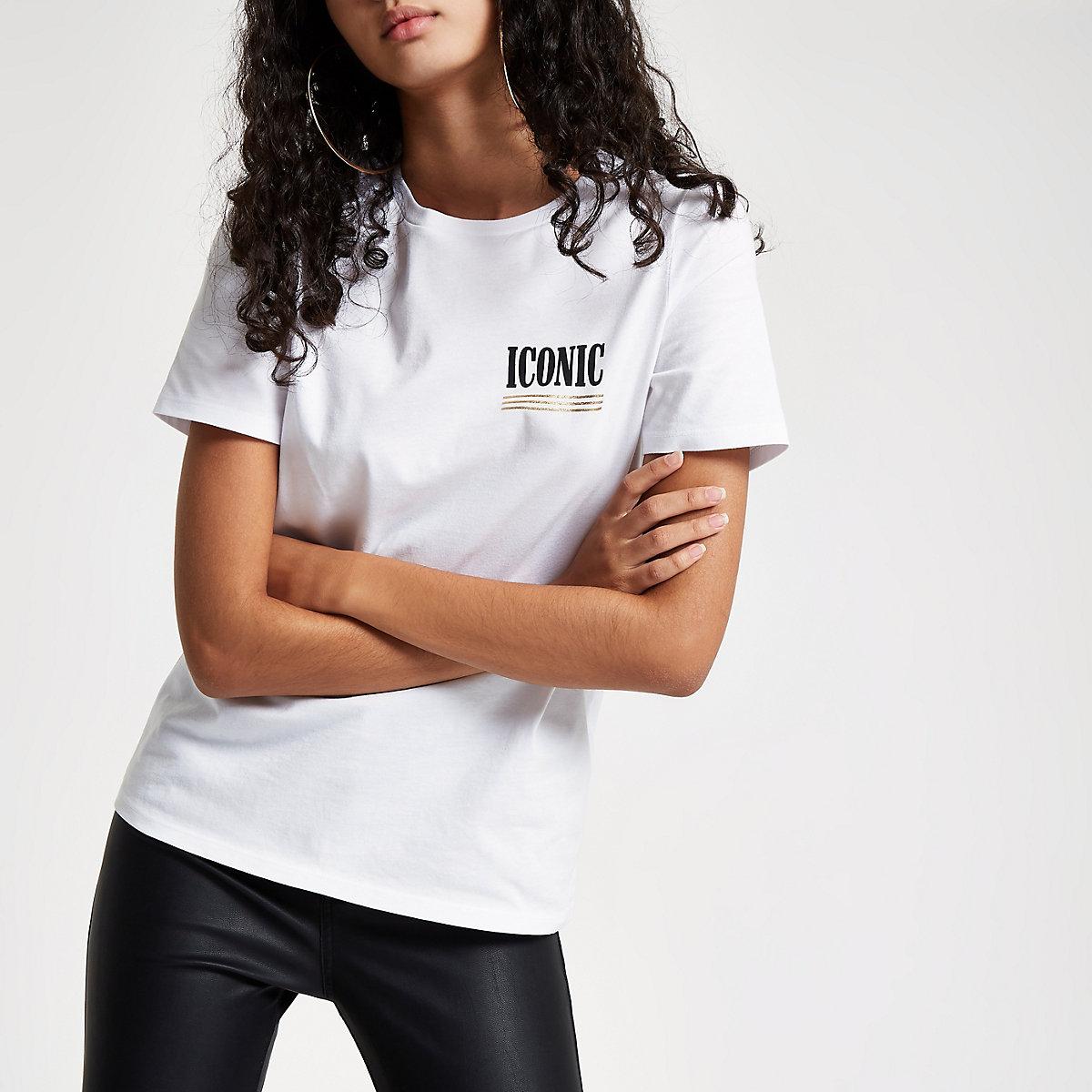 White 'Iconic' print T-shirt