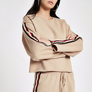 Beige tape popper side sweatshirt