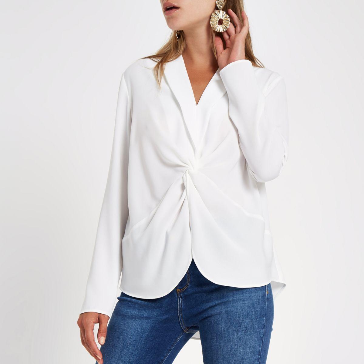White twist front blouse