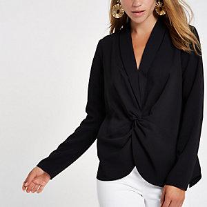 Black V neck twist front blouse