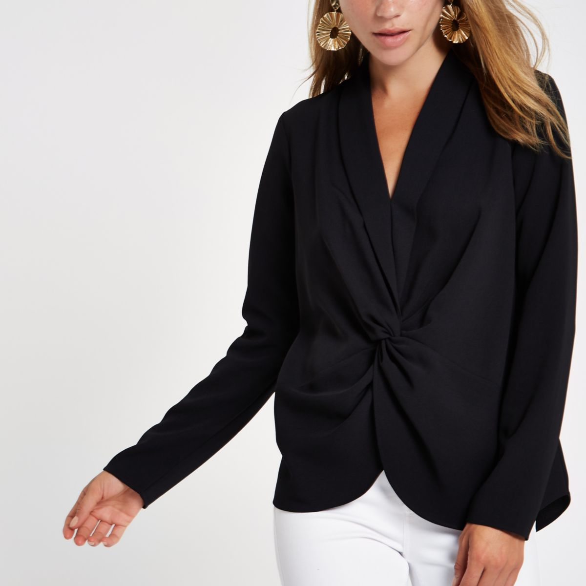 Black V neck twist front blouse