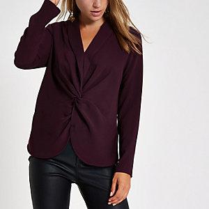 Dunkelrote Bluse mit V-Ausschnitt