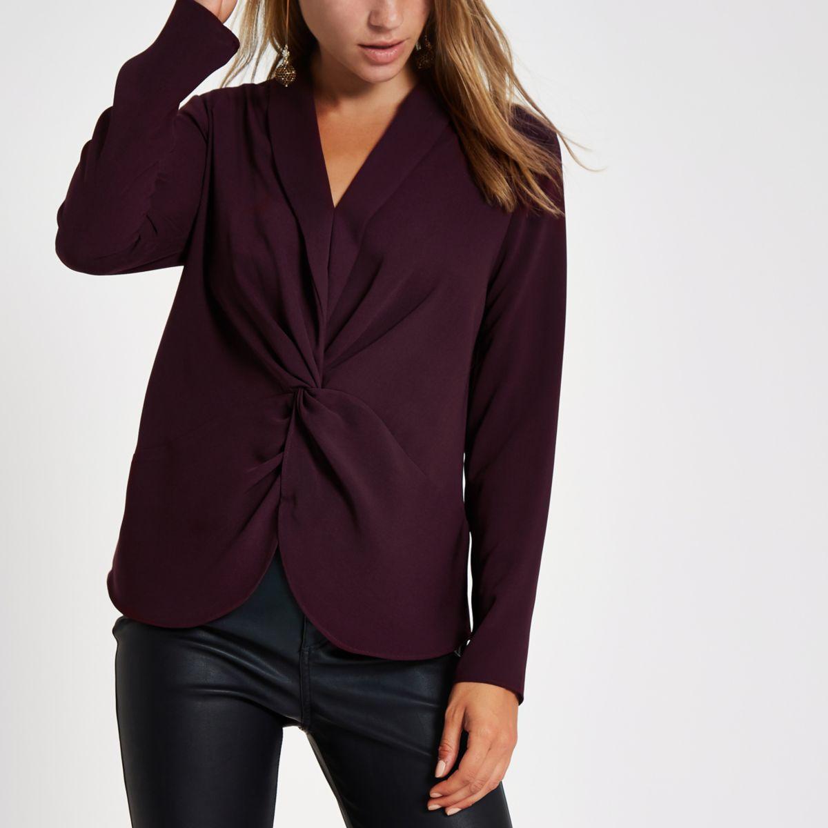 Dark red V neck twist front blouse