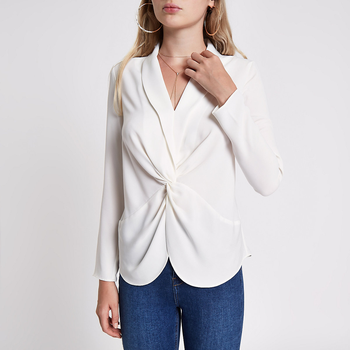 Cream twist front long sleeve blouse