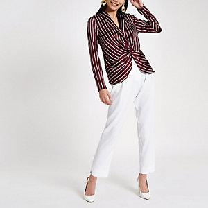 Red stripe twist front long sleeve top