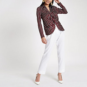 Red stripe twist front long sleeve top