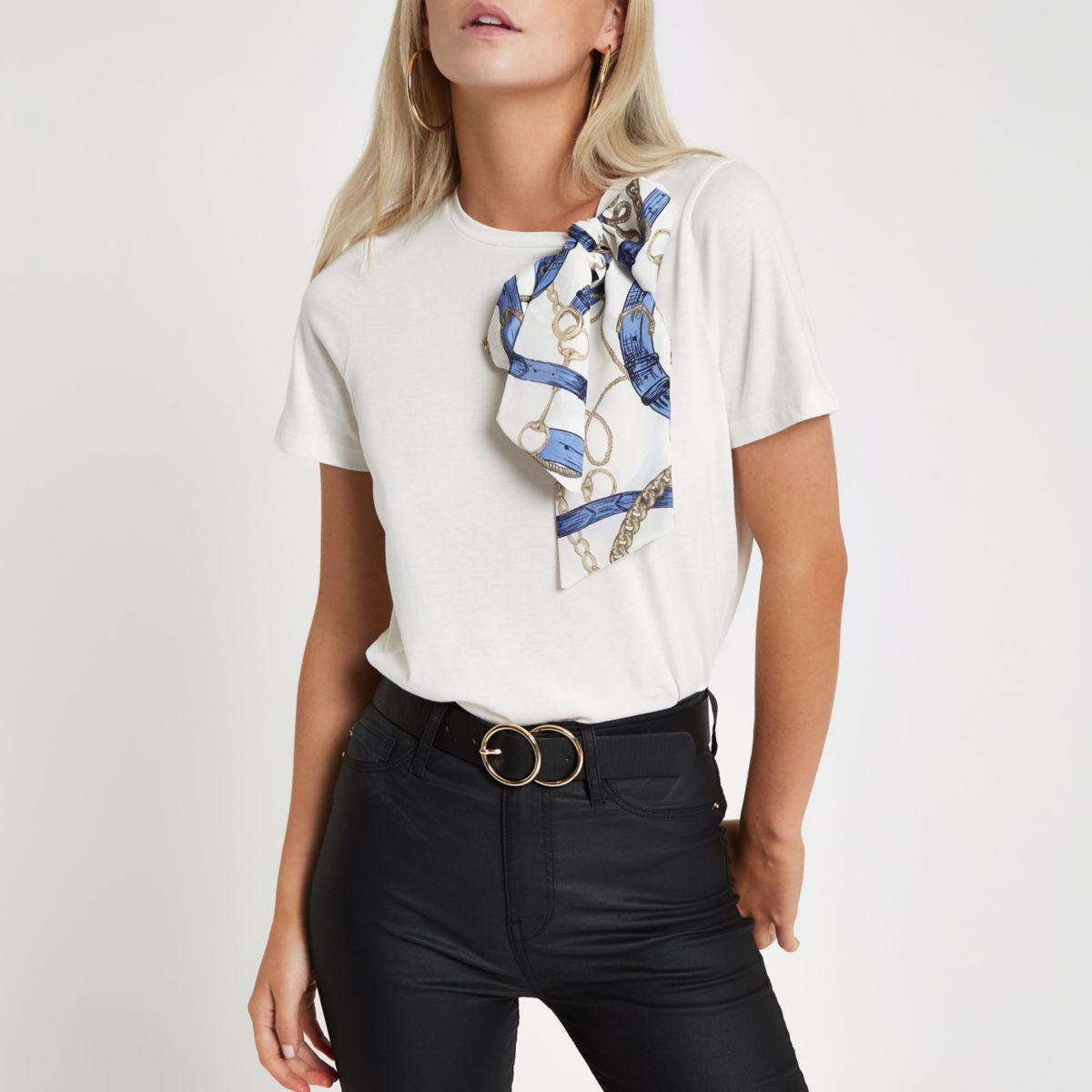 Petite White scarf print bow detail T-shirt