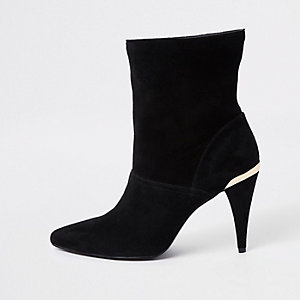 Black wide fit suede slouch cone heel boots