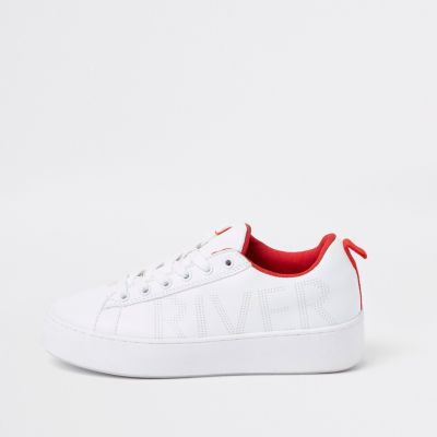 White Red Trim Lace Up Trainers by River Island