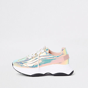 Iridescent chunky lace-up sneakers