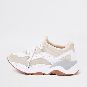Beige layered sole lace-up trainers
