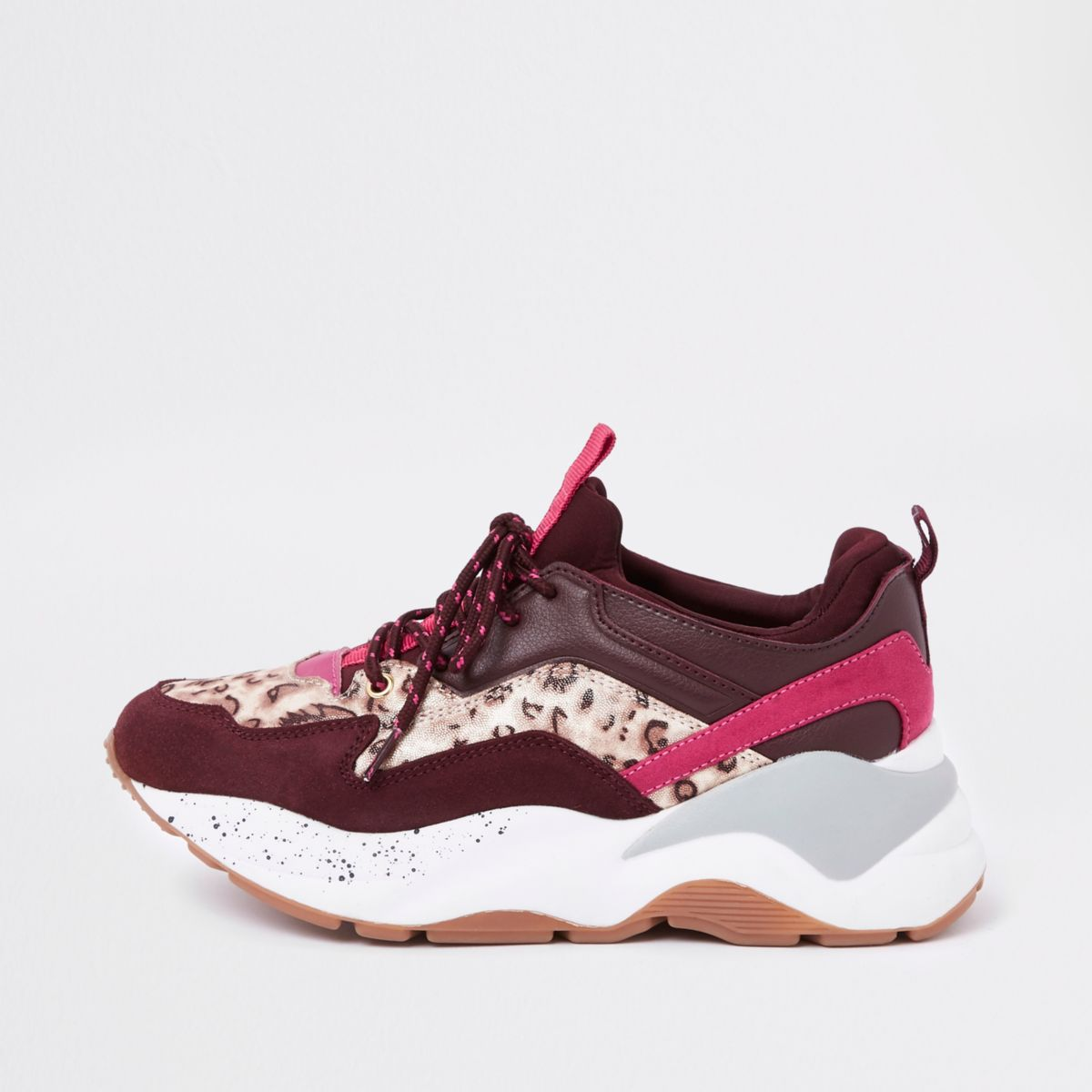 Dark red layered sole lace-up sneakers