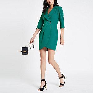 Mini-robe portefeuille smoking moulante vert foncé