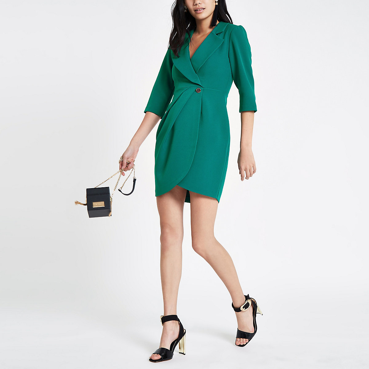 Dark green bodycon wrap tux mini dress