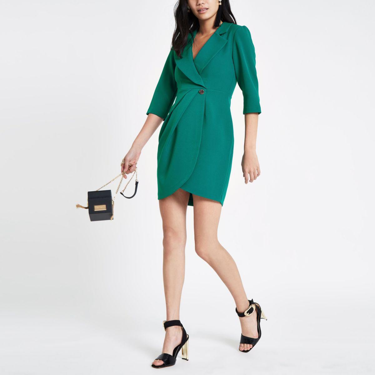Dark green bodycon wrap tux mini dress