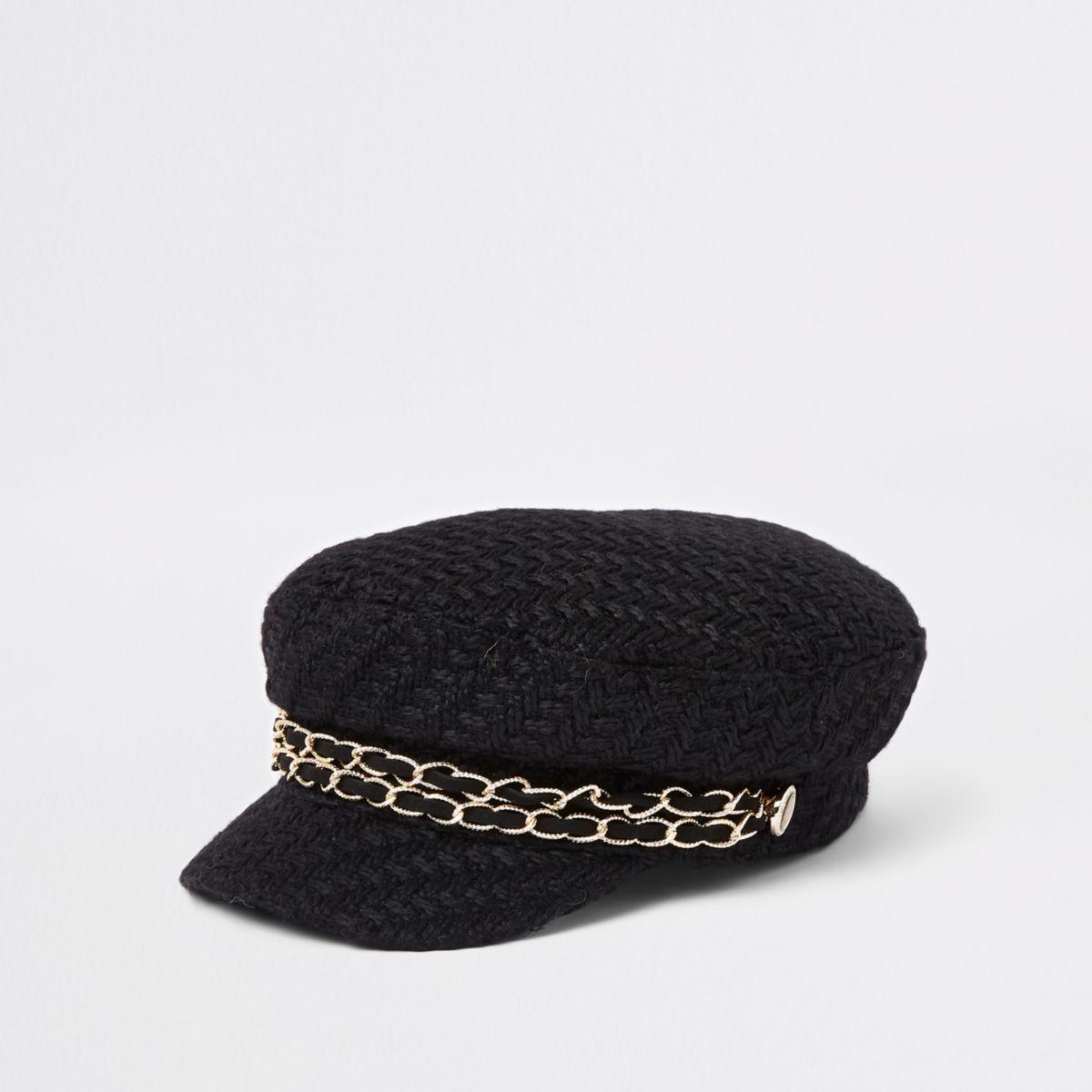 Black double chain baker boy hat