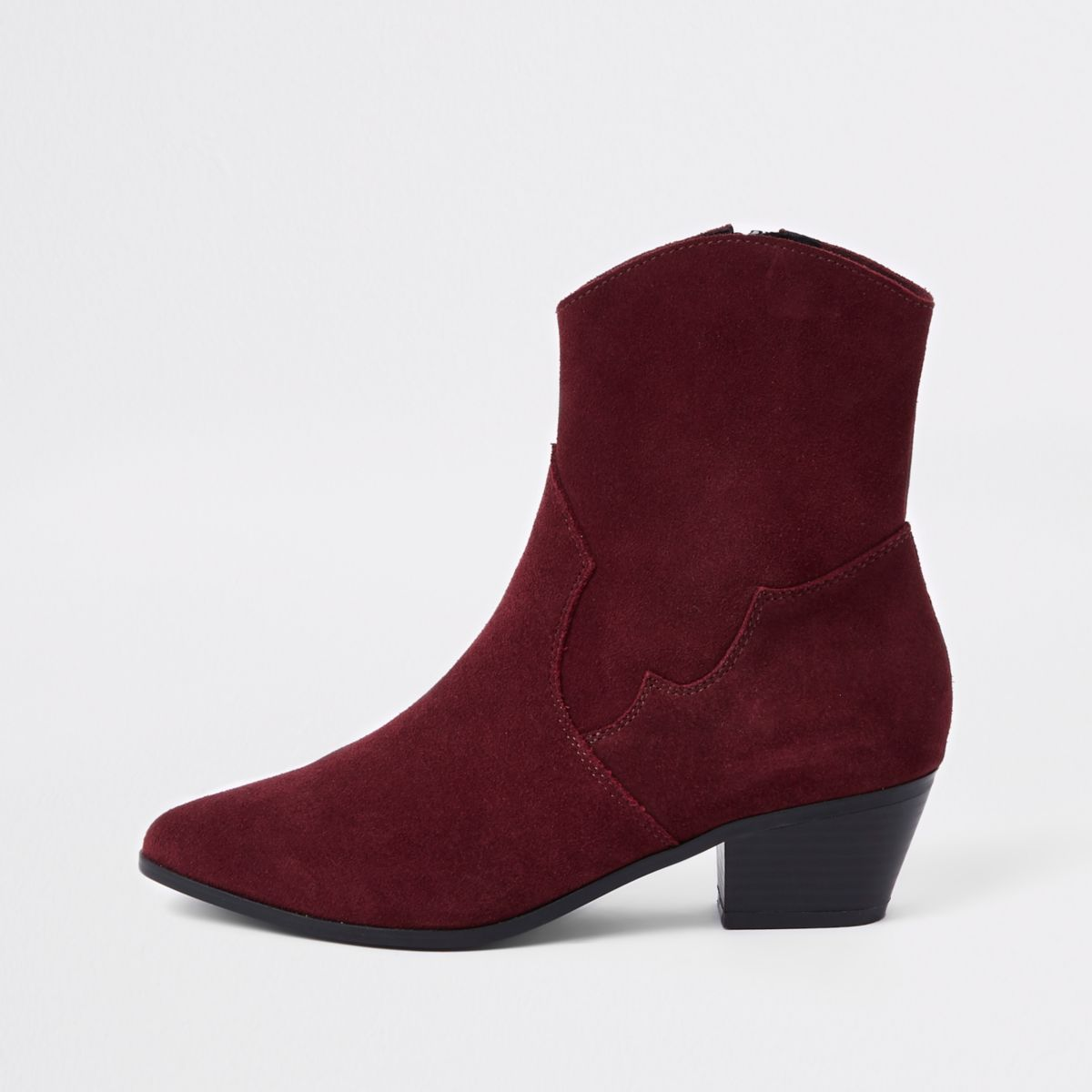 Brown suede western ankle boots