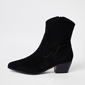Black suede western ankle boots