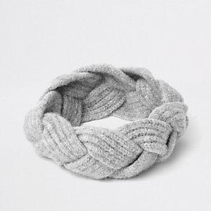 Grijze gevlochten hoofdband