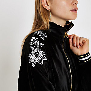 Black floral embroidered loungewear jacket