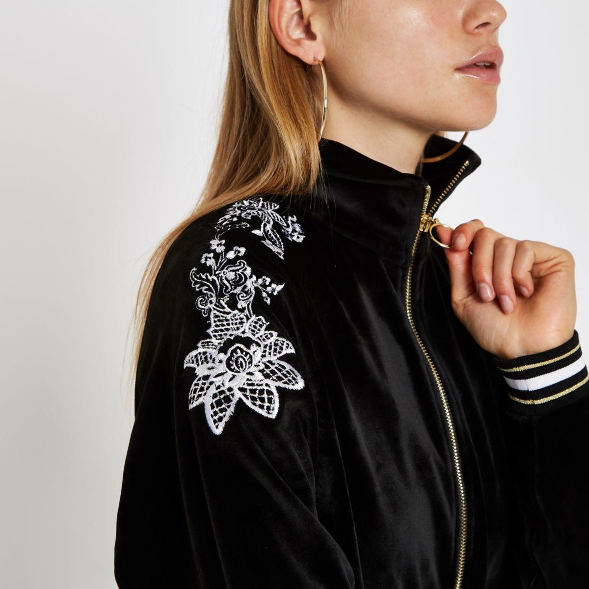 Black floral embroidered loungewear jacket