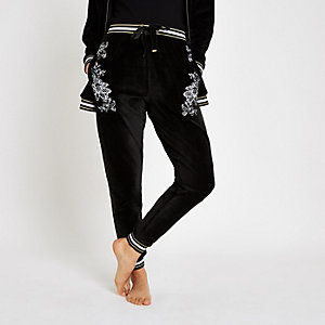 Black floral embroidered pyjama joggers