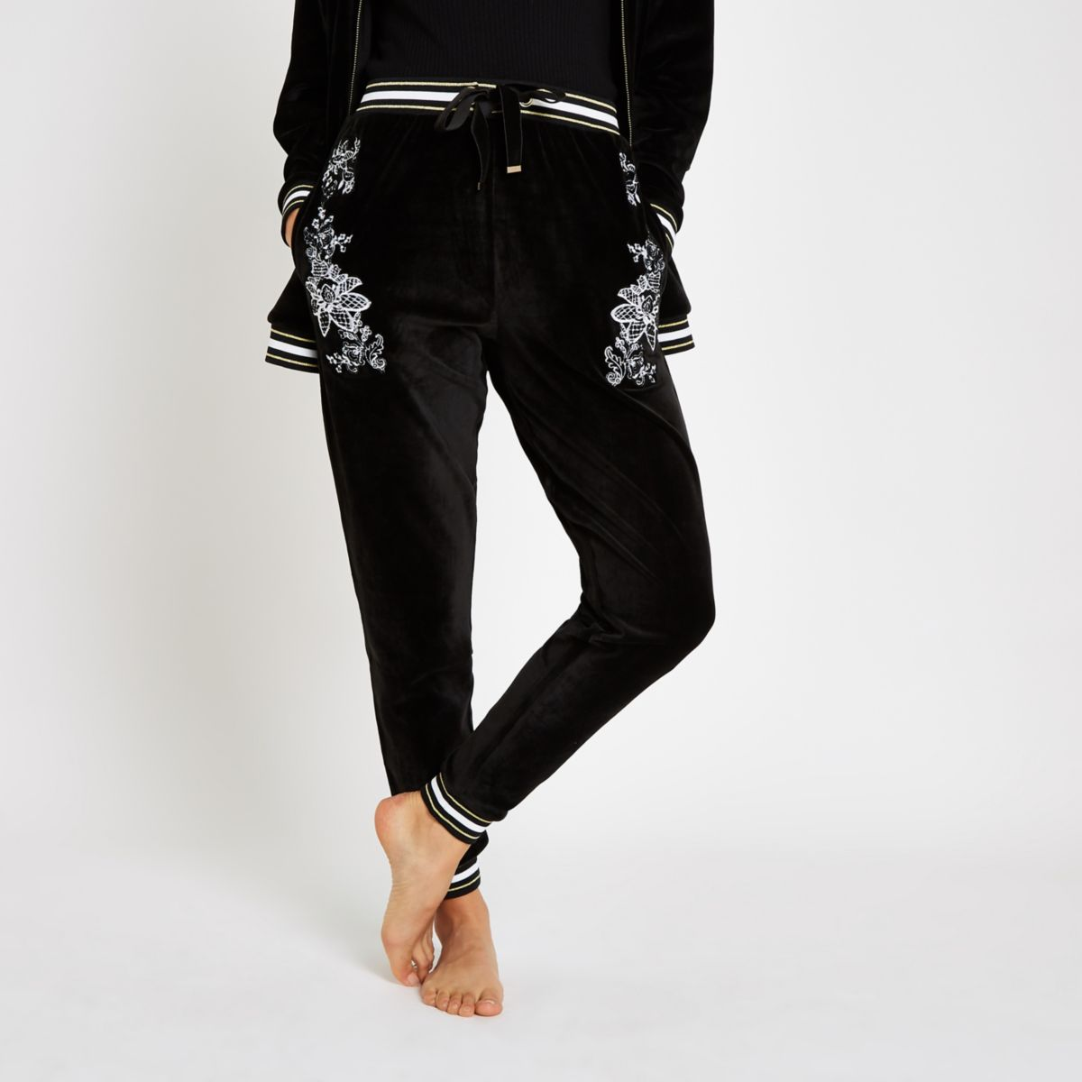 Black floral embroidered loungewear joggers