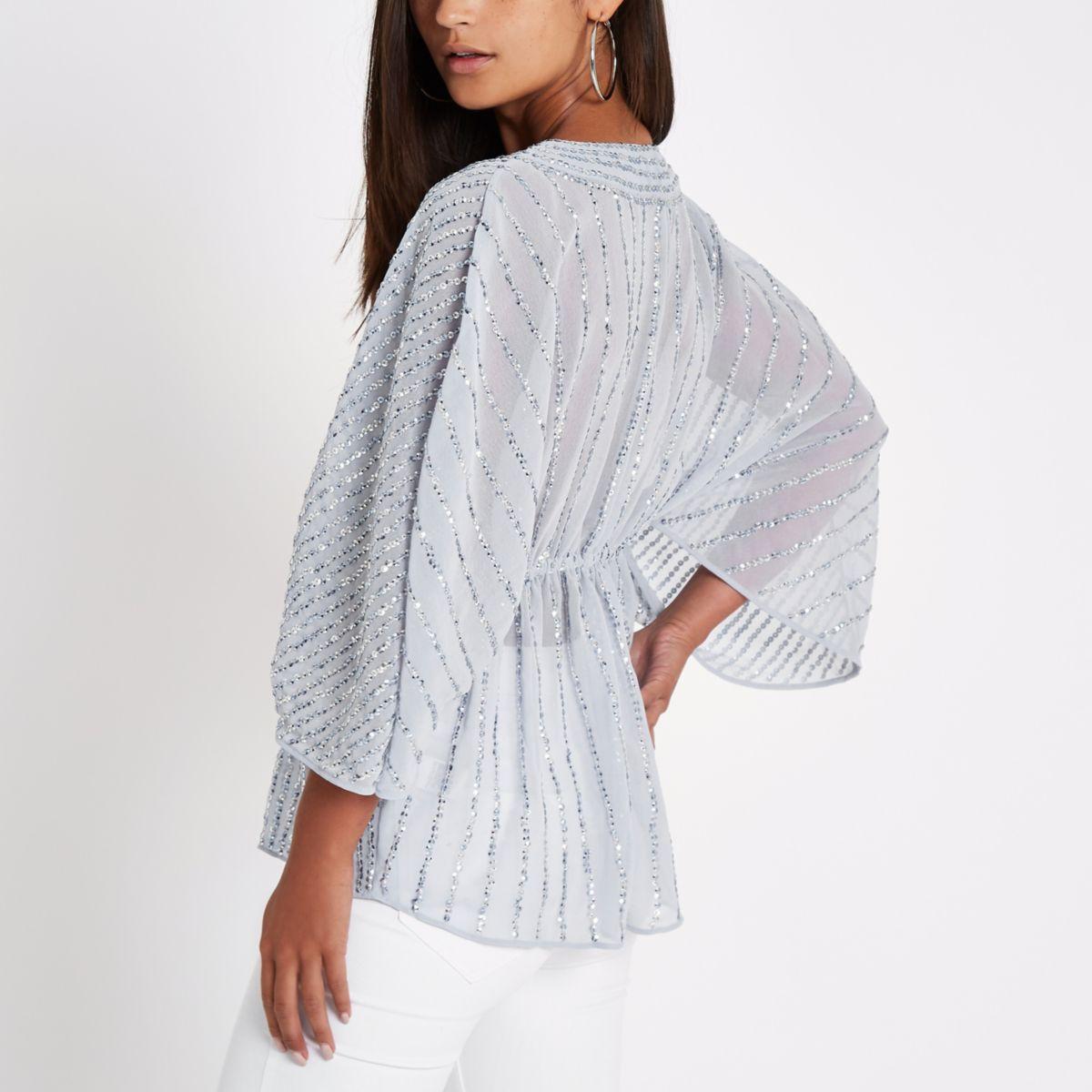 sequin Petite blue embellished top kimono qSnH1Tw4