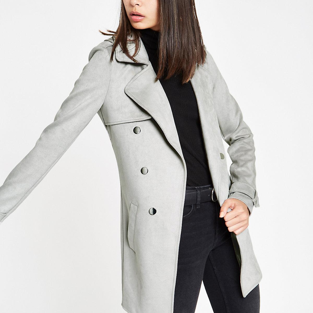 Grey faux suede longline fallaway jacket