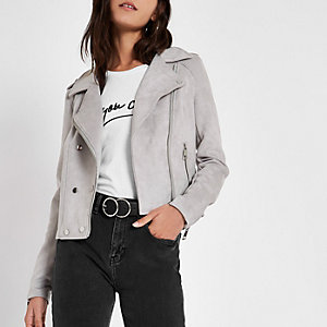 Grey faux suede popper front biker jacket