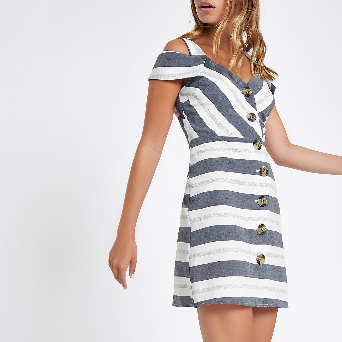 Petite blue stripe button bardot midi dress