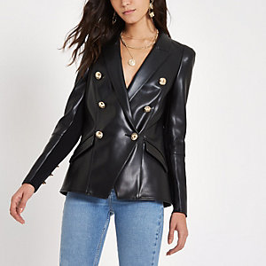Black faux leather double breasted tux blazer