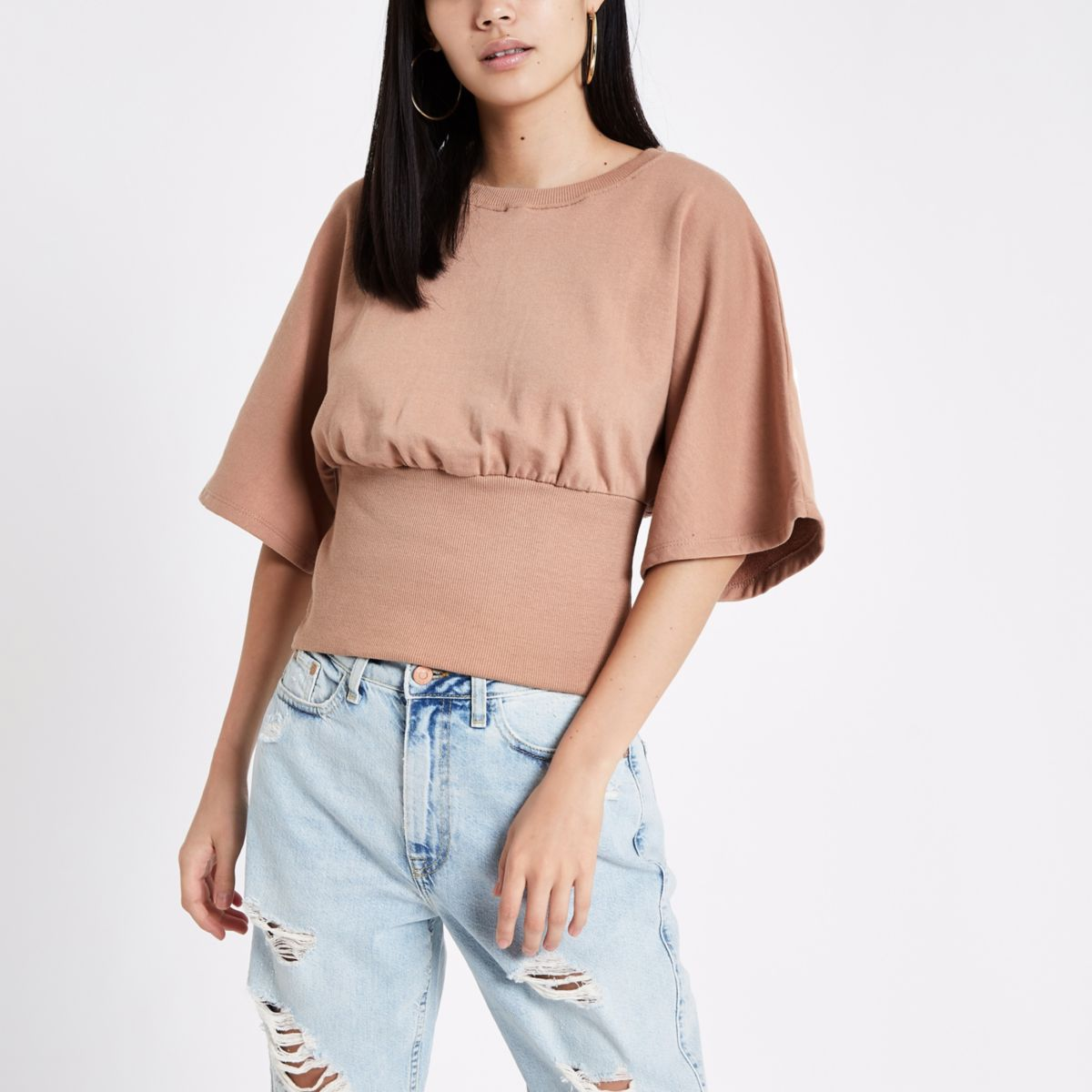 Brown cape sleeve fitted sweater
