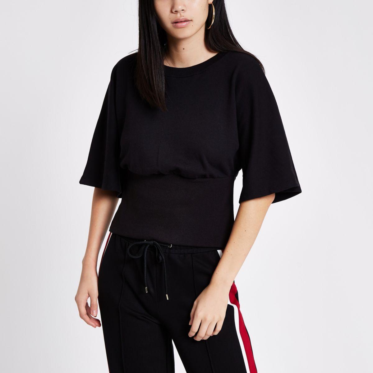 Schwarzes Sweatshirt mit Flügelärmeln