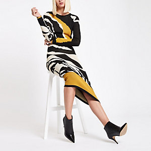 RI Studio yellow zebra print knitted dress