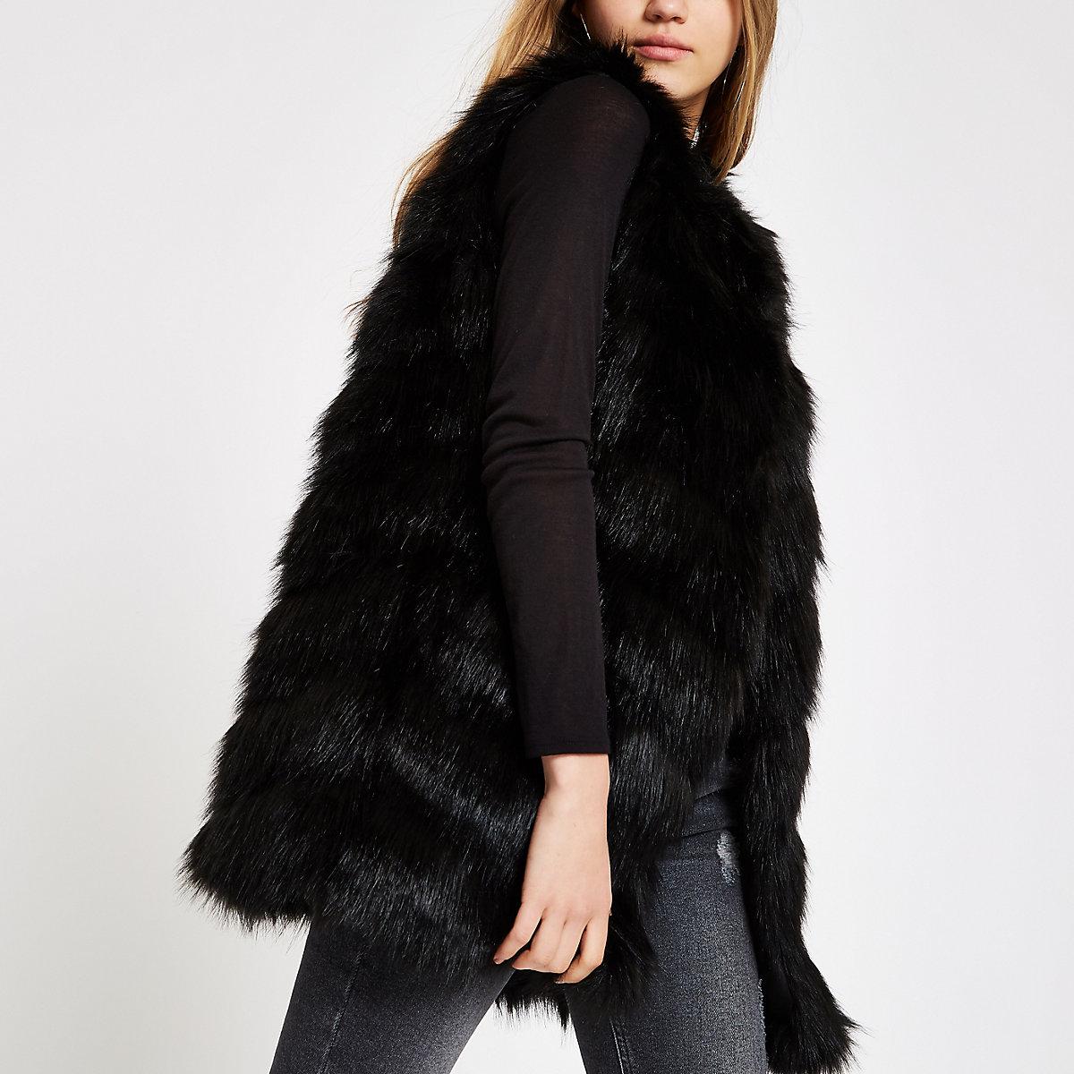 Black faux fur chevron panelled vest