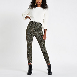 Brown leopard print belted ponte pants
