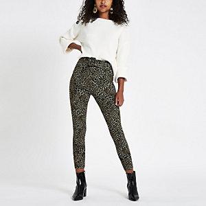 Pantalon en maille point de Rome imprimé léopard marron ceinturé