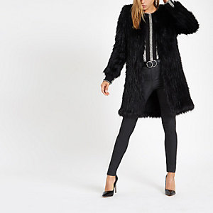 Black knit faux fur coat
